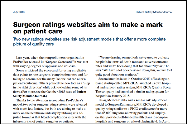 Patient Safety Monitor Journal article - Surgeon ratings websites aim to make a mark on patient care. MPIRICA Health